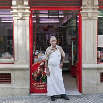 Sr. Alfredo and his butcher shop at Bairro Alto