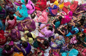 Women attending the Holi festival in a village close to Mathura
