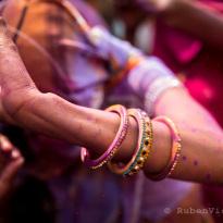 Woman dancing during Nandgaon Holi